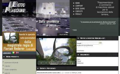 Il sito della Betto Macchine nel 2006